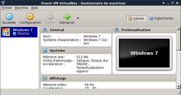 Windows dans virtualbox for Gestionnaire de fenetre