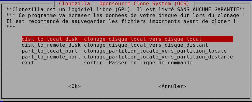 Clonage disques - Clonezilla